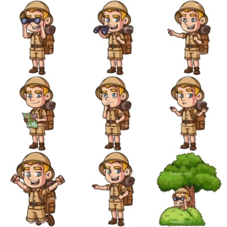 Male safari explorer. PNG - JPG and infinitely scalable vector EPS - on white or transparent background.
