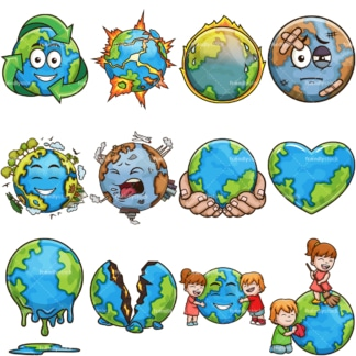 Planet earth cartoon clipart bundle. PNG - JPG and vector EPS file formats (infinitely scalable). Images isolated on transparent background.