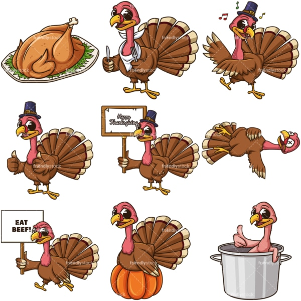 Thanksgiving turkey. PNG - JPG and infinitely scalable vector EPS - on white or transparent background.