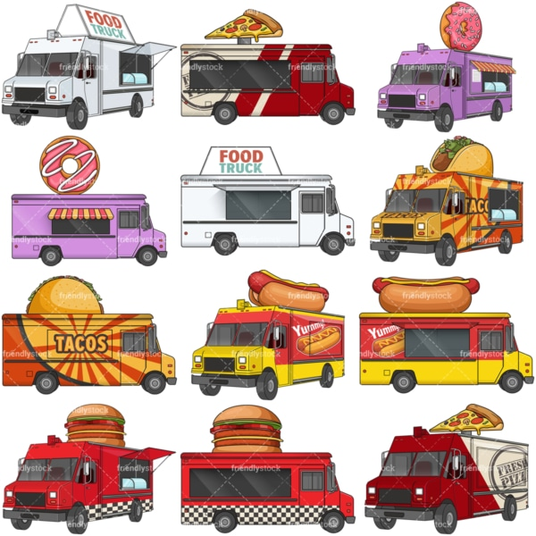 Vector food trucks. PNG - JPG and vector EPS file formats (infinitely scalable). Images isolated on transparent background.