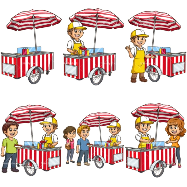 Vector hot dog carts. PNG - JPG and vector EPS file formats (infinitely scalable).
