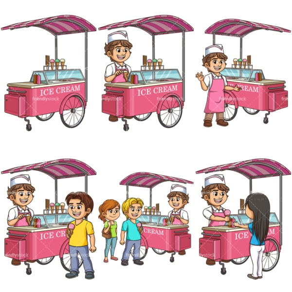 Vector ice cream carts. PNG - JPG and vector EPS file formats (infinitely scalable).