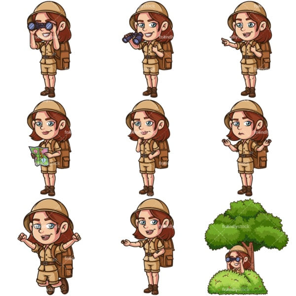 Woman explorer. PNG - JPG and infinitely scalable vector EPS - on white or transparent background.
