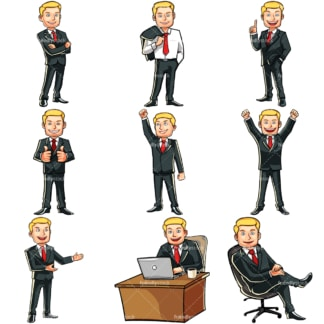 Caucasian businessman bundle. PNG - JPG and vector EPS file formats (infinitely scalable). Images isolated on transparent background.