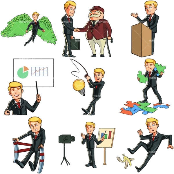 Young businessman bundle. PNG - JPG and vector EPS file formats (infinitely scalable). Images isolated on transparent background.