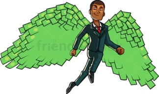 Black business man with money angel wings. PNG - JPG and vector EPS file formats (infinitely scalable). Image isolated on transparent background.