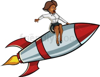 Black business woman on rocket. PNG - JPG and vector EPS file formats (infinitely scalable). Image isolated on transparent background.
