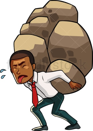 Black businessman carrying heavy burden. PNG - JPG and vector EPS file formats (infinitely scalable). Image isolated on transparent background.