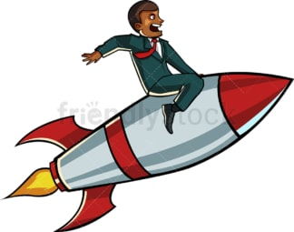 Black businessman riding rocket. PNG - JPG and vector EPS file formats (infinitely scalable). Image isolated on transparent background.