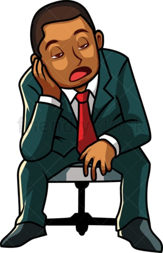 Black businessman with boredom. PNG - JPG and vector EPS file formats (infinitely scalable). Image isolated on transparent background.