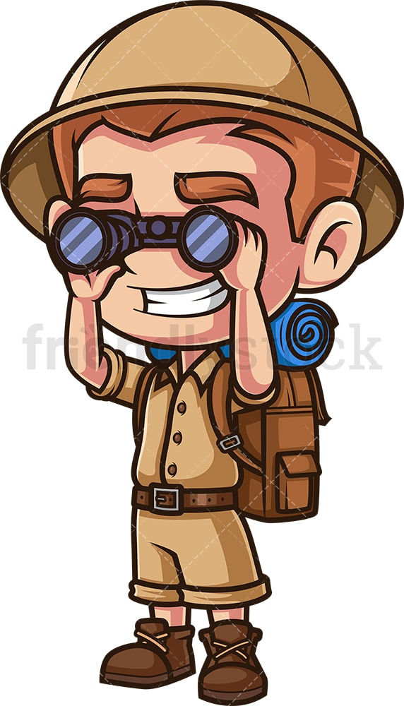 Boy explorer with binoculars. PNG - JPG and vector EPS (infinitely scalable).