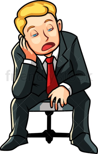 Business man falling asleep. PNG - JPG and vector EPS file formats (infinitely scalable). Image isolated on transparent background.