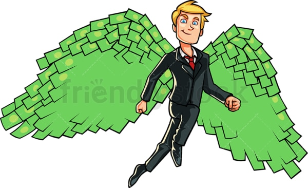 Business man with money wings. PNG - JPG and vector EPS file formats (infinitely scalable). Image isolated on transparent background.