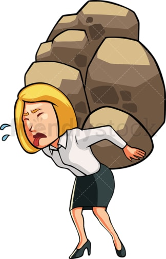 Business woman carrying heavy load. PNG - JPG and vector EPS file formats (infinitely scalable). Image isolated on transparent background.