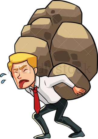 Businessman carrying heavy load. PNG - JPG and vector EPS file formats (infinitely scalable). Image isolated on transparent background.