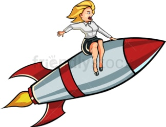 Businesswoman on a rocket. PNG - JPG and vector EPS file formats (infinitely scalable). Image isolated on transparent background.