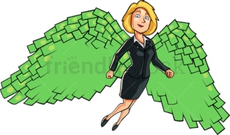Businesswoman with money wings. PNG - JPG and vector EPS file formats (infinitely scalable). Image isolated on transparent background.