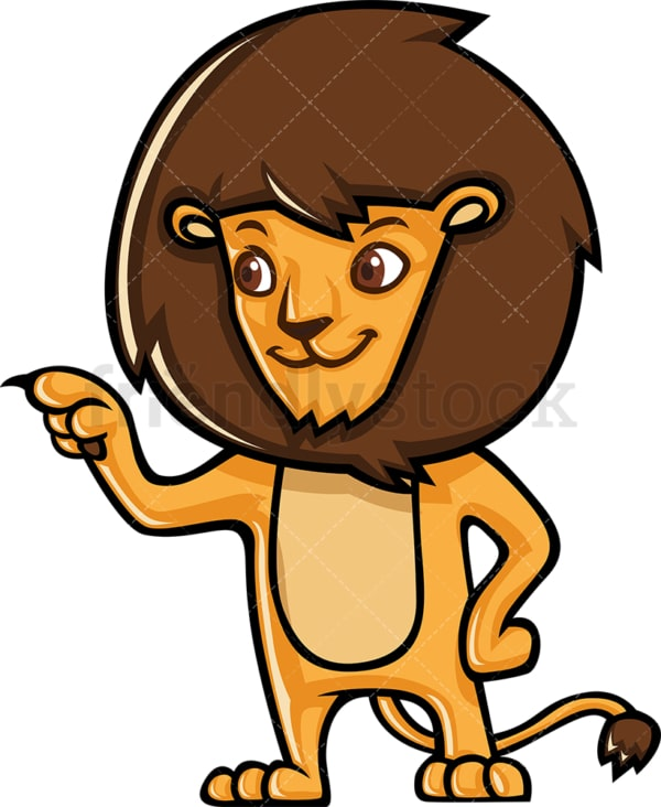 Cute lion pointing sideways. PNG - JPG and vector EPS (infinitely scalable).