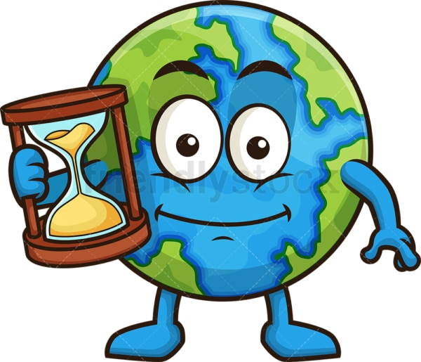 Earth holding an hourglass. PNG - JPG and vector EPS (infinitely scalable).