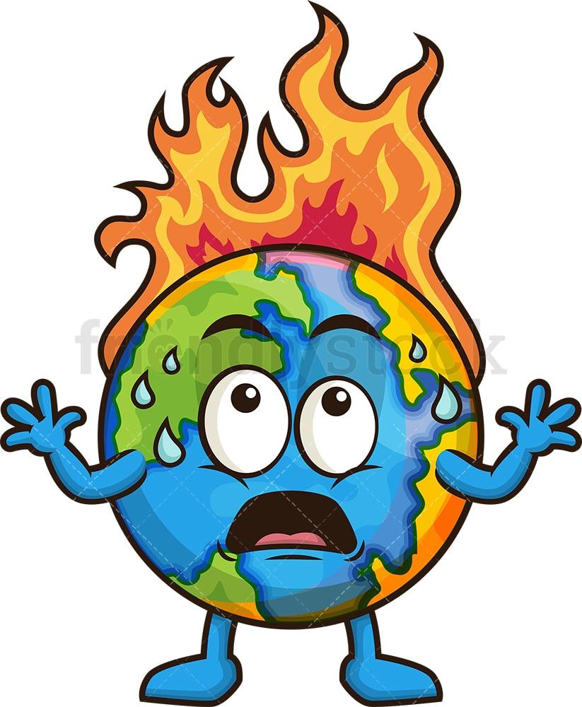 Earth On Fire Cartoon Clipart Vector - FriendlyStock