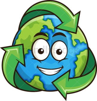 Earth with recycling symbol. PNG - JPG and vector EPS file formats (infinitely scalable). Image isolated on transparent background.