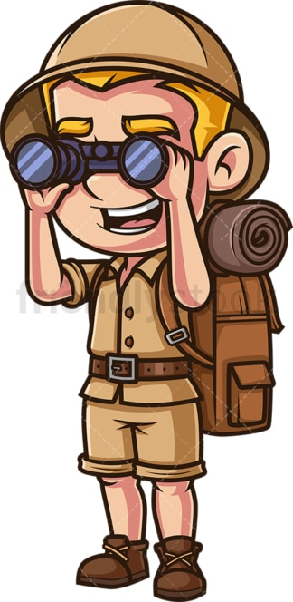 Explorer looking through binoculars. PNG - JPG and vector EPS (infinitely scalable).