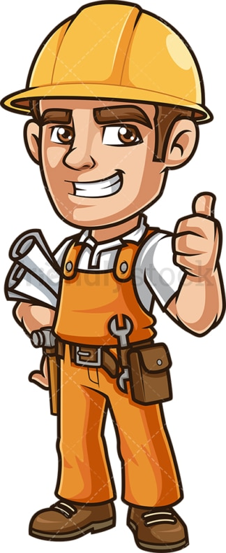 Happy construction worker holding plans. PNG - JPG and vector EPS (infinitely scalable).