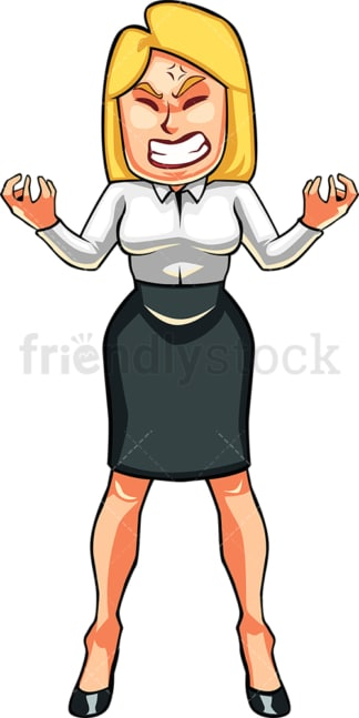 Infuriated businesswoman. PNG - JPG and vector EPS file formats (infinitely scalable). Image isolated on transparent background.