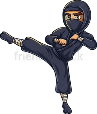 Japanese ninja kicking. PNG - JPG and vector EPS (infinitely scalable).