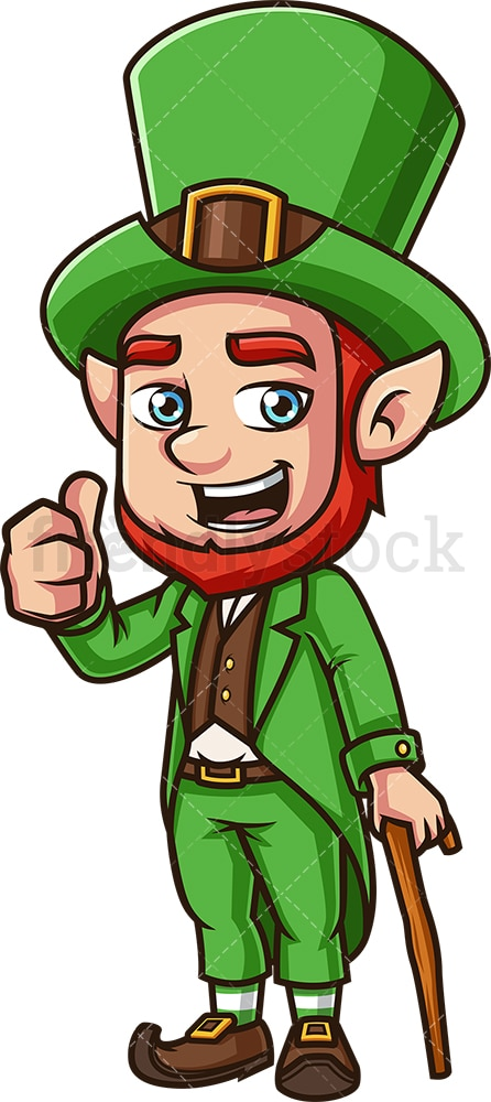Leprechaun thumbs up. PNG - JPG and vector EPS (infinitely scalable).