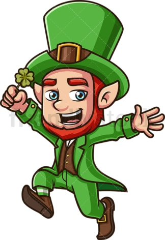 Leprechaun with clover. PNG - JPG and vector EPS (infinitely scalable). Image isolated on transparent background.