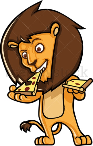 Lion character eating pizza. PNG - JPG and vector EPS (infinitely scalable).