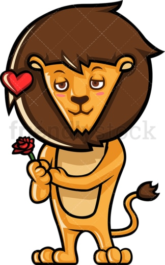 Romantic lion in love. PNG - JPG and vector EPS (infinitely scalable).