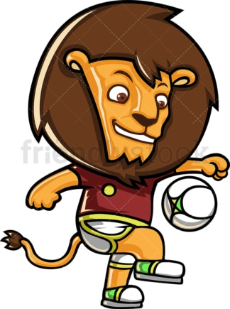 Lion playing football. PNG - JPG and vector EPS (infinitely scalable).