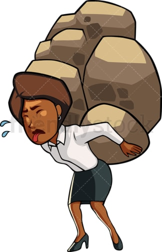 Overwhelmed black woman carrying rocks. PNG - JPG and vector EPS file formats (infinitely scalable). Image isolated on transparent background.
