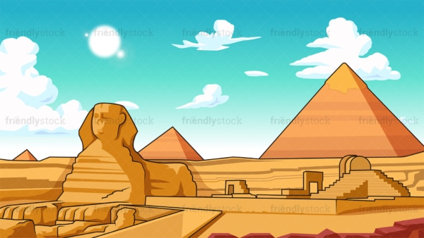 Pyramids and sphinx of giza background in 16:9 aspect ratio. PNG - JPG and vector EPS file formats (infinitely scalable).