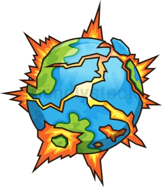 Exploding earth. PNG - JPG and vector EPS file formats (infinitely scalable). Image isolated on transparent background.