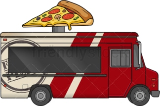 Pizza food truck side view. PNG - JPG and vector EPS file formats (infinitely scalable). Image isolated on transparent background.