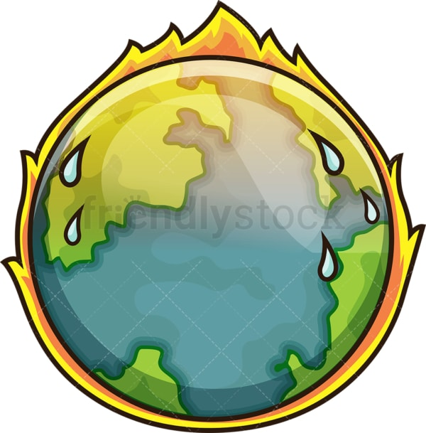 Climate change earth. PNG - JPG and vector EPS file formats (infinitely scalable). Image isolated on transparent background.