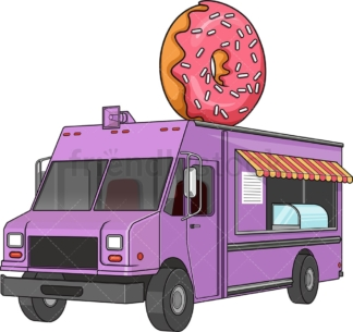 Donut food truck. PNG - JPG and vector EPS file formats (infinitely scalable). Image isolated on transparent background.