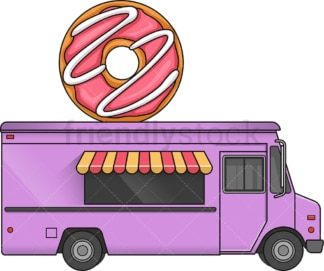 Donut food truck side view. PNG - JPG and vector EPS file formats (infinitely scalable). Image isolated on transparent background.