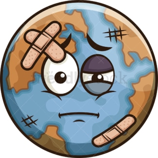 Injured earth emoji. PNG - JPG and vector EPS file formats (infinitely scalable). Image isolated on transparent background.