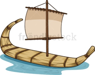 Ancient egyptian boat. PNG - JPG and vector EPS file formats (infinitely scalable). Image isolated on transparent background.