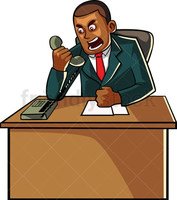 Angry black businessman on the phone. PNG - JPG and vector EPS file formats (infinitely scalable). Image isolated on transparent background.