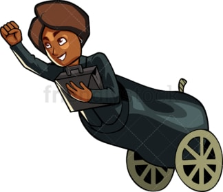 Black businesswoman in cannon. PNG - JPG and vector EPS file formats (infinitely scalable). Image isolated on transparent background.