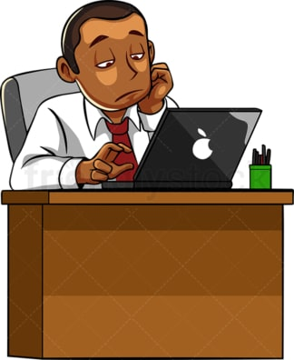 Black male feeling bored at work. PNG - JPG and vector EPS file formats (infinitely scalable). Image isolated on transparent background.