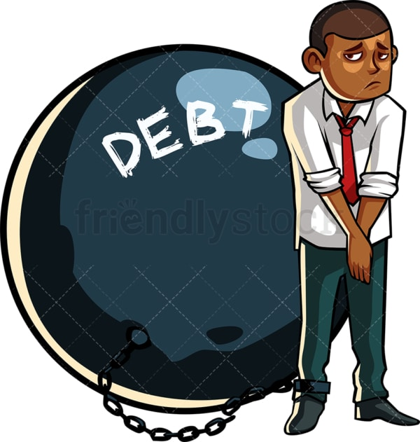 Black man in debt ball and chain. PNG - JPG and vector EPS file formats (infinitely scalable). Image isolated on transparent background.