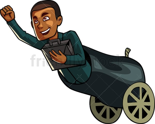 Black man shooting out of a cannon. PNG - JPG and vector EPS file formats (infinitely scalable). Image isolated on transparent background.