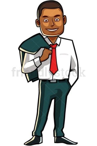Black man with jacket over shoulder. PNG - JPG and vector EPS file formats (infinitely scalable). Image isolated on transparent background.