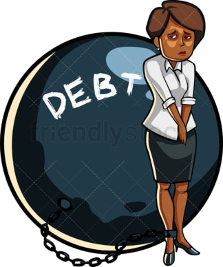 Black woman in debt. PNG - JPG and vector EPS file formats (infinitely scalable). Image isolated on transparent background.